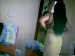 indian girl caught hidden cam wearing her green strip panty n big boobs